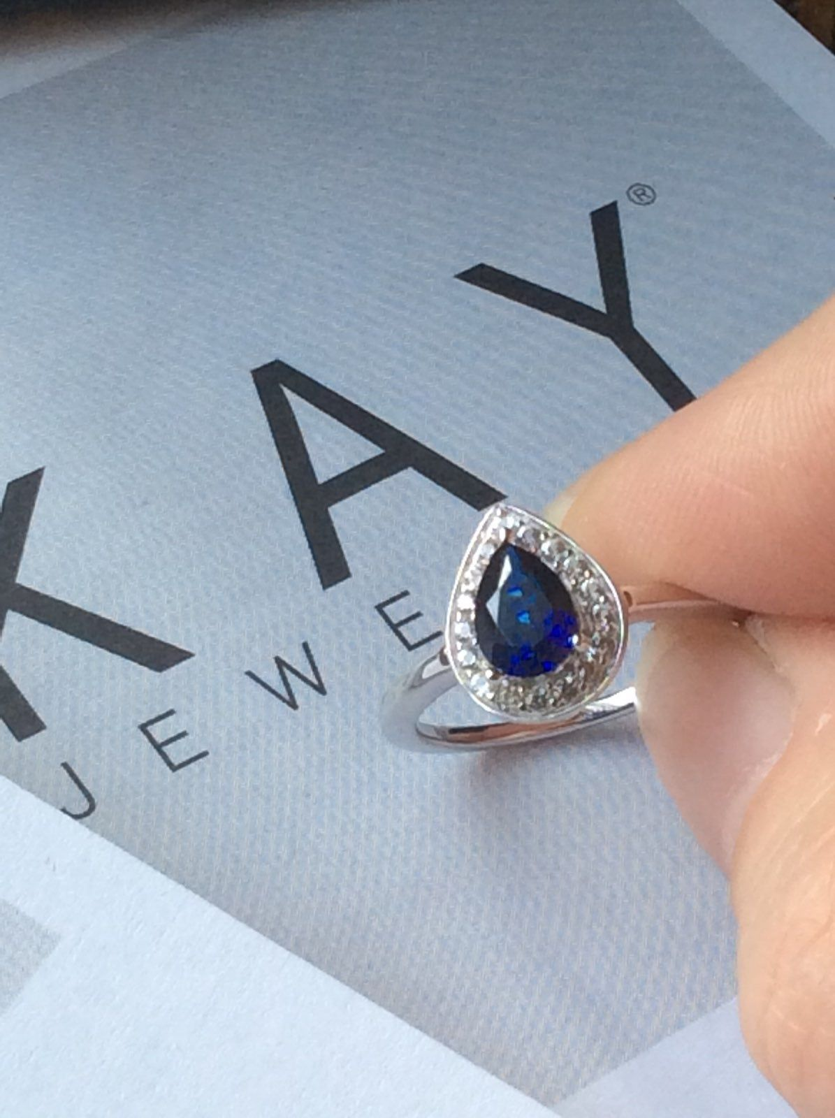 Kay Jewelers Blue Sapphire Ring It Is A Pear Shaped Blue Sapphire Surrounded B Sapphire Engagement Ring Blue Kay Jewelers Engagement Rings Blue Sapphire Rings