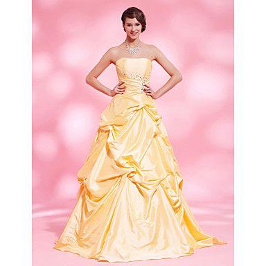 A-line Strapless Floor-length Taffeta Evening Dress – USD $ 229.99