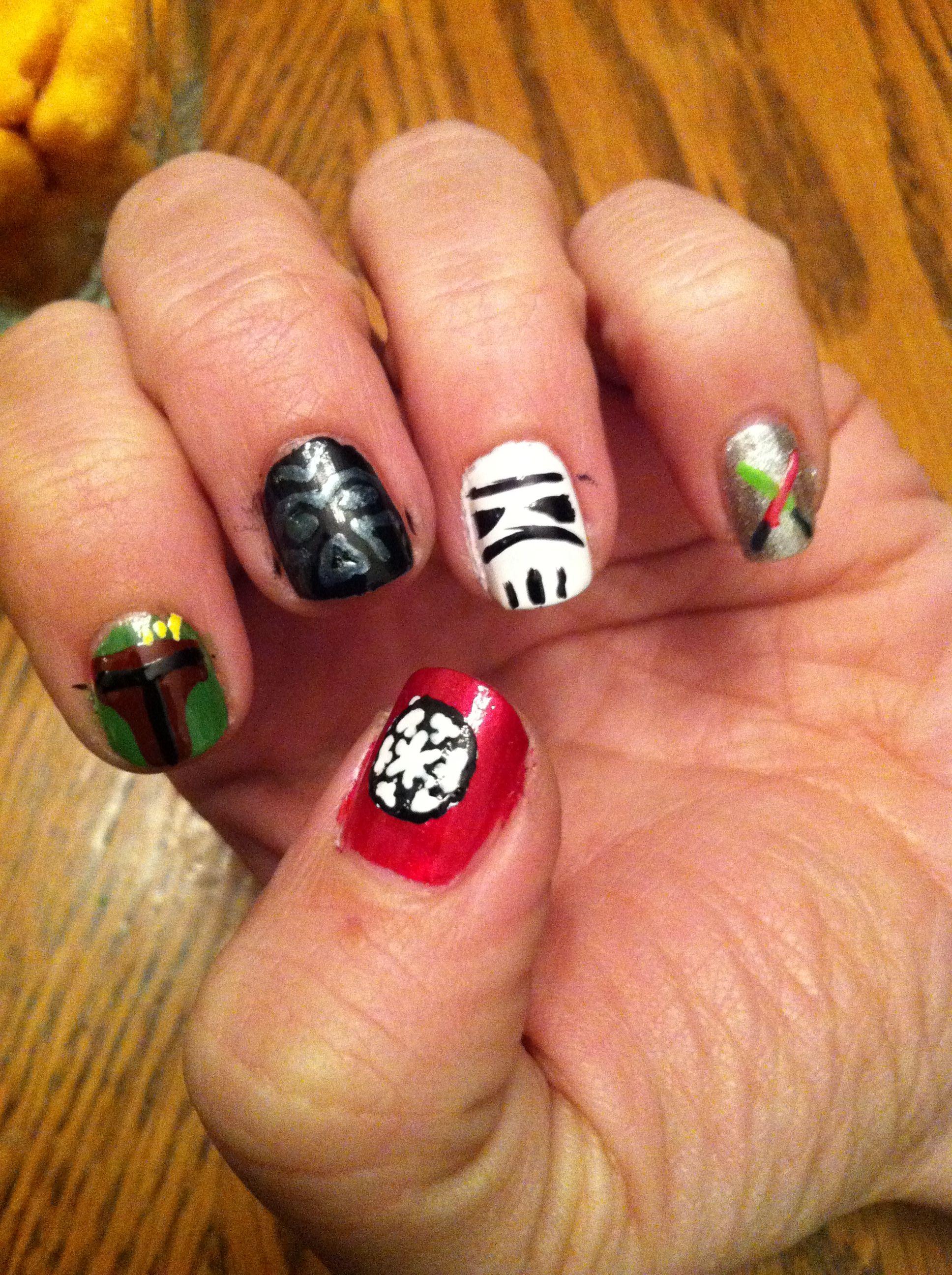 Star Wars nails! Imperial cog, Boba Fett, Darth Vader, Stormtrooper ...