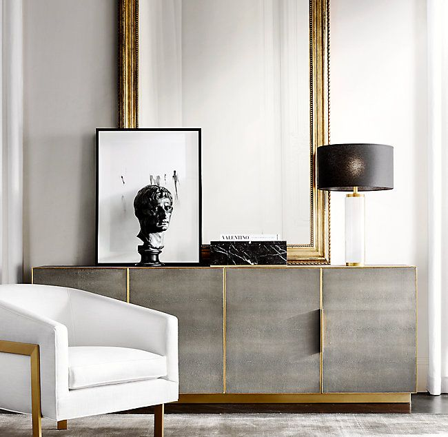 Cela Shagreen Panel 4 Door Sideboard Luxury Home Decor Home