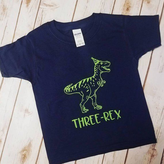 Three Rex Toddler Youth Navy And Green Dinosaur Birthday Shirt