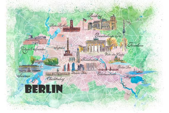 Werfen Sie Einen Blick Auf Unsere Berlin Deutschland Illustrierte Karte Mit Hauptstrassen Sehenswurdi Illustrated Map Etsy Art Painting Original Canvas Painting