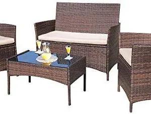 4 Pieces Outdoor Furniture Rattan Chair /& Table Patio Set Outdoor Sofa