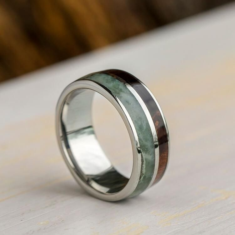 Green Jade Ring With Natural Redwood In Titanium Wedding Band 3398 Mens Wedding Rings Titanium Wedding Rings Wedding Rings