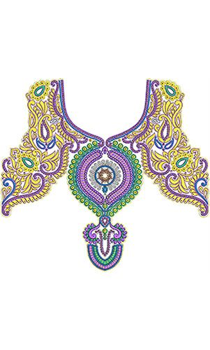 Pakistani Traditional Neck Embroidery Design Bricolage Et Diy