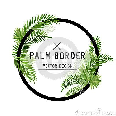 Tropical Palm Leaf Border Vector Leaf Border Palm Leaves Vector