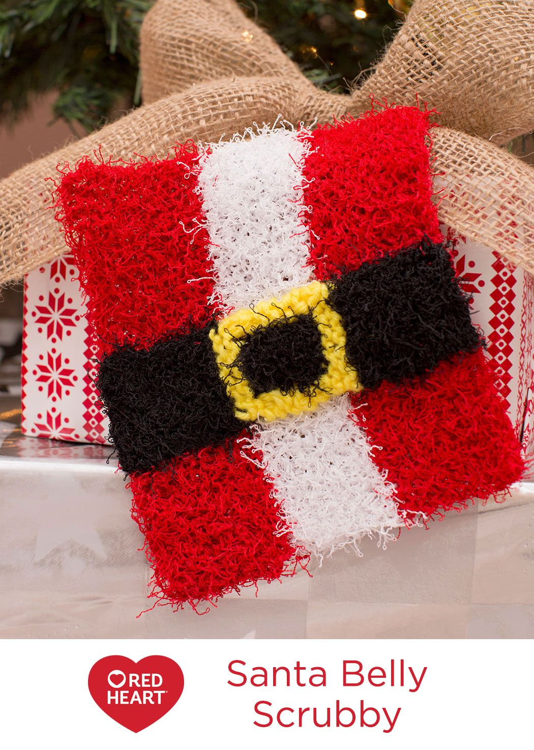 Santa Belly Scrubby Free Knitting Pattern in Red Heart Yarns -- Give ...