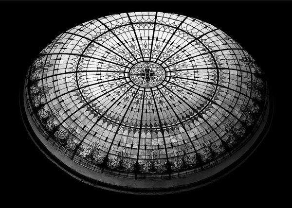 Stained Glass Poster featuring the photograph Stained Glass Dome - Bw by Stephen Stookey