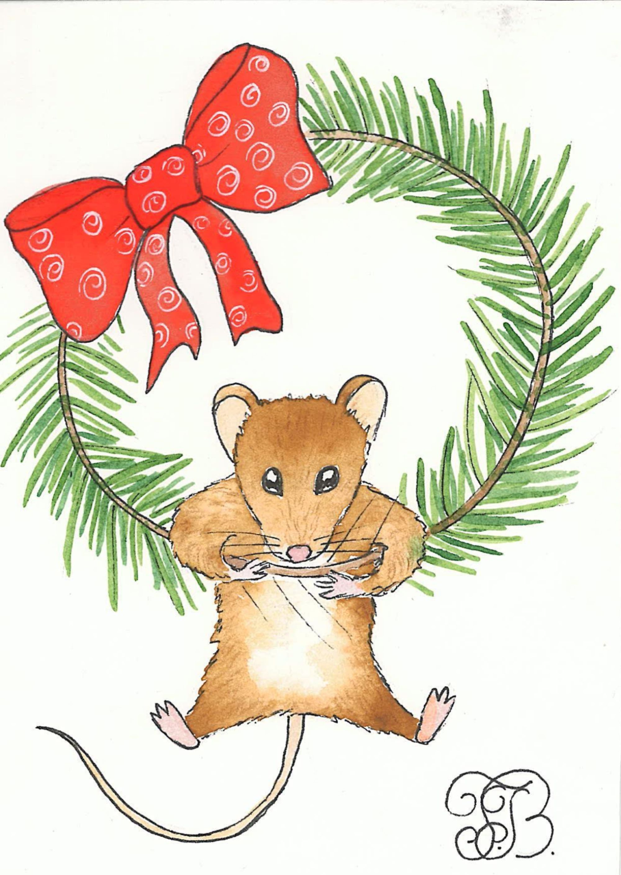 Christmas/New Year Post Cards with Mice, Digital Instant