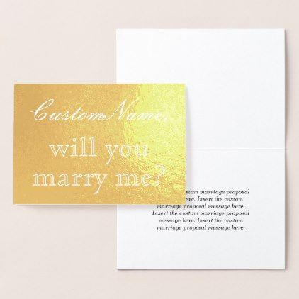 Minimal Gold Foil Marriage Proposal Card  Minimal Gifts Style