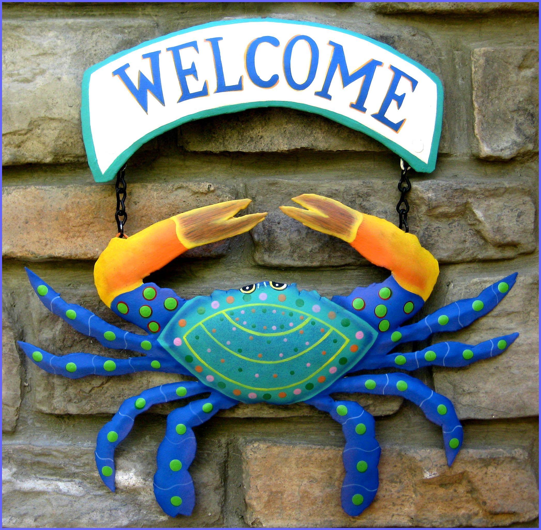 Crab Welcome Sign Crab Wall Hanging Coastal Decor Garden Etsy Tropical Wall Decor Outdoor Metal Art Tropical Decor