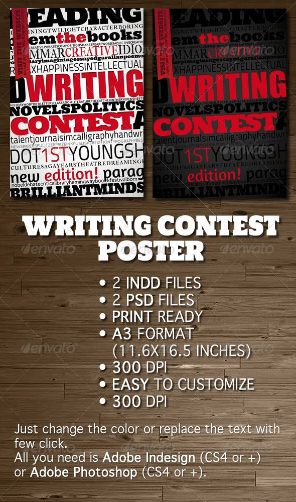 Writing Contest Poster Flyer – Competition Flyer Template