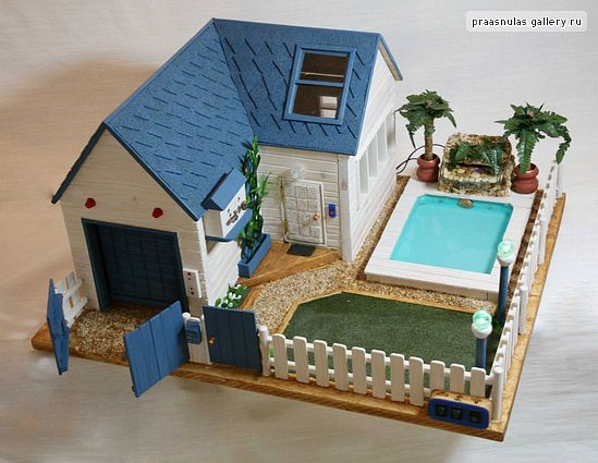 Wooden Dollhouse With A Swimming Pool Cardboard House Wooden Dollhouse Paper Doll House