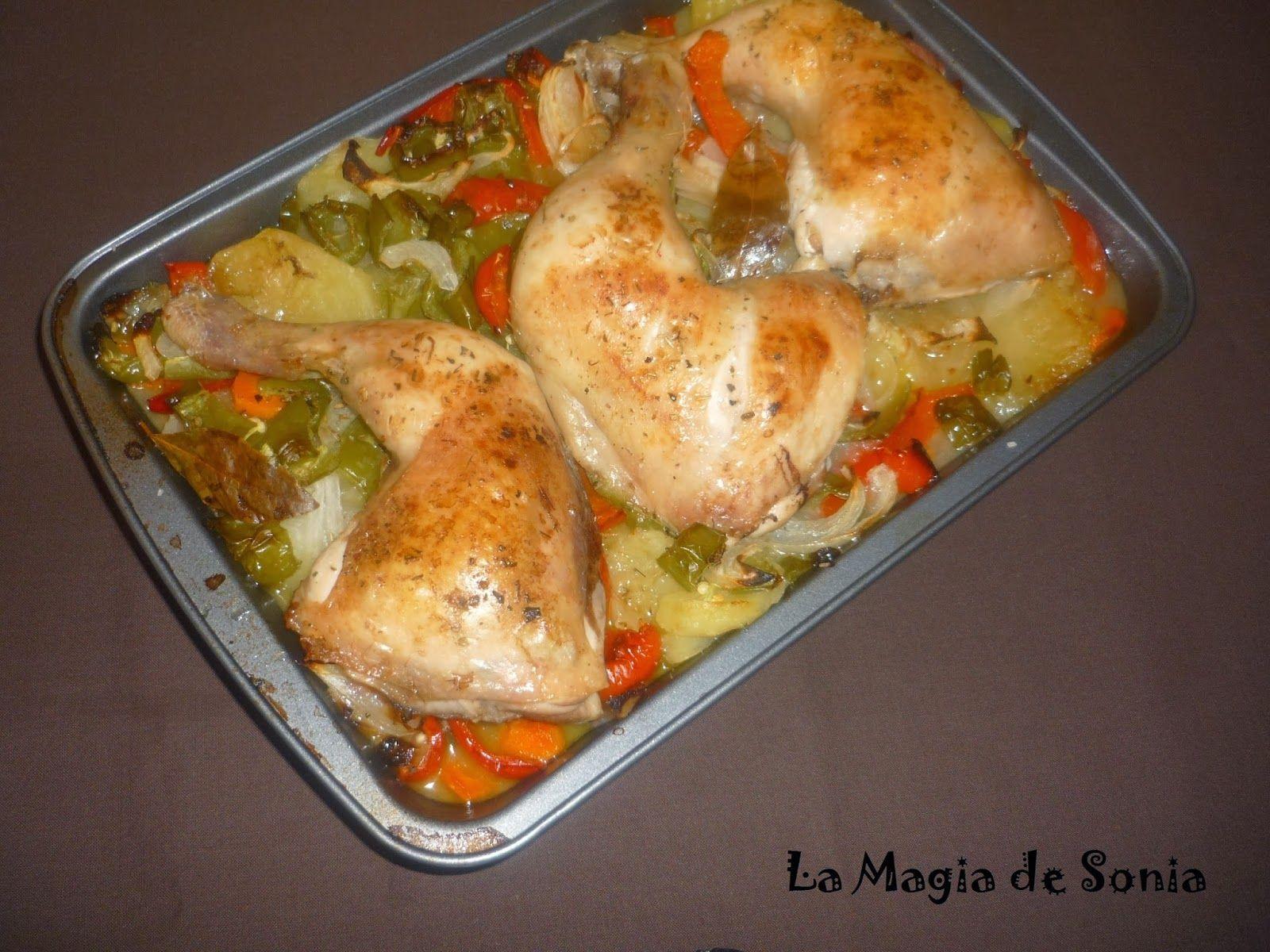 La Magia de Sonia: Muslos de pollo asado con patatas y verduras variadas.