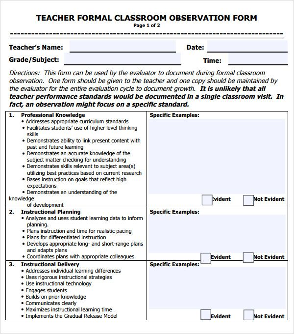 Teacher Observation Form Template  Classroom Ideas