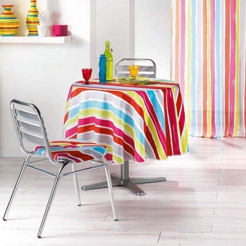 13 50 Nappe Ronde Anti Tache 180cm Polyester Infroissable Raye Pacifique Multicolore Bonplan