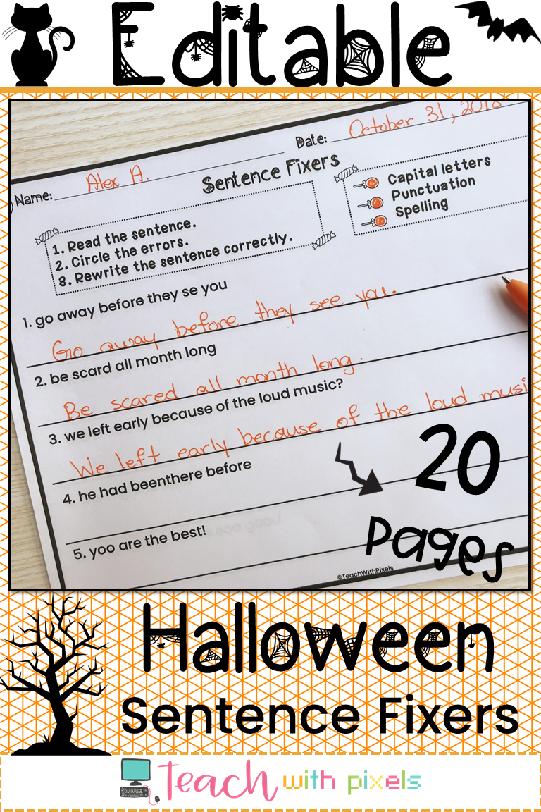 Halloween Sentence Fixers For Second Grade Writing Centers Editable Sentence Fixers Are Printable Writing Prompts For Kids Elementary Writing Writing Practice [ 1152 x 768 Pixel ]