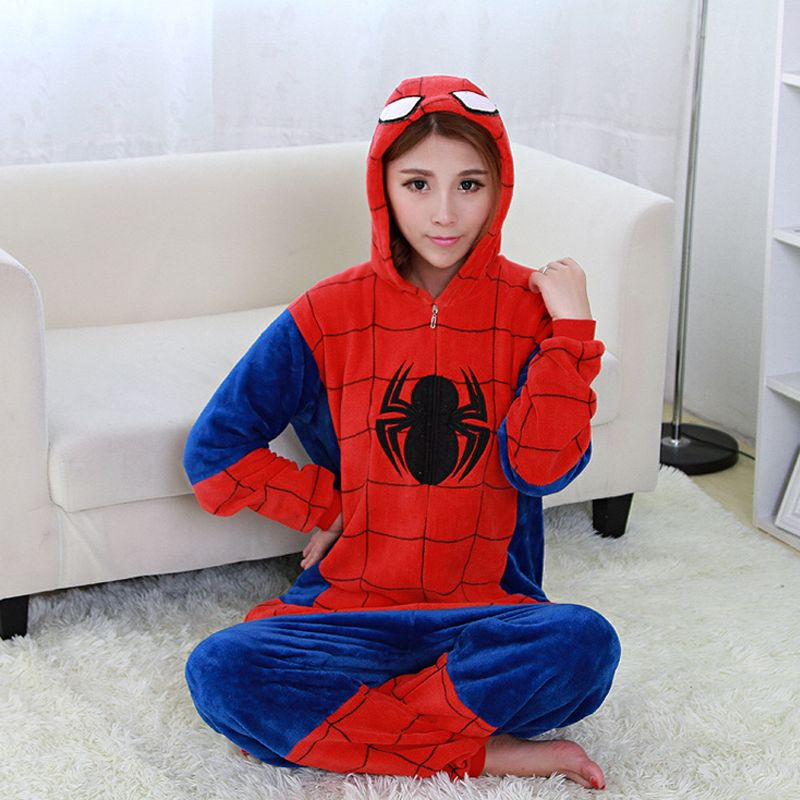 8a394e9e21 Spider-Man Jumpsuit Flannel Bedgown Adults Sloth Pajamas Onesie Kigurumi  One-Piece Unisex Sleepcoat