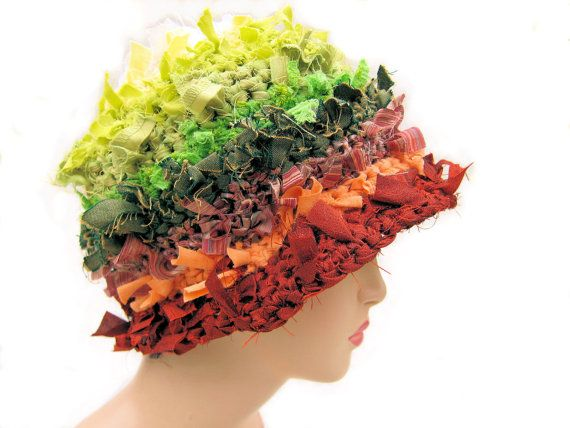 Easy... I would do SHABBY style. Womens hat rag hat crazy hat crochet hat cloche hat hat by Iryna, $49.00