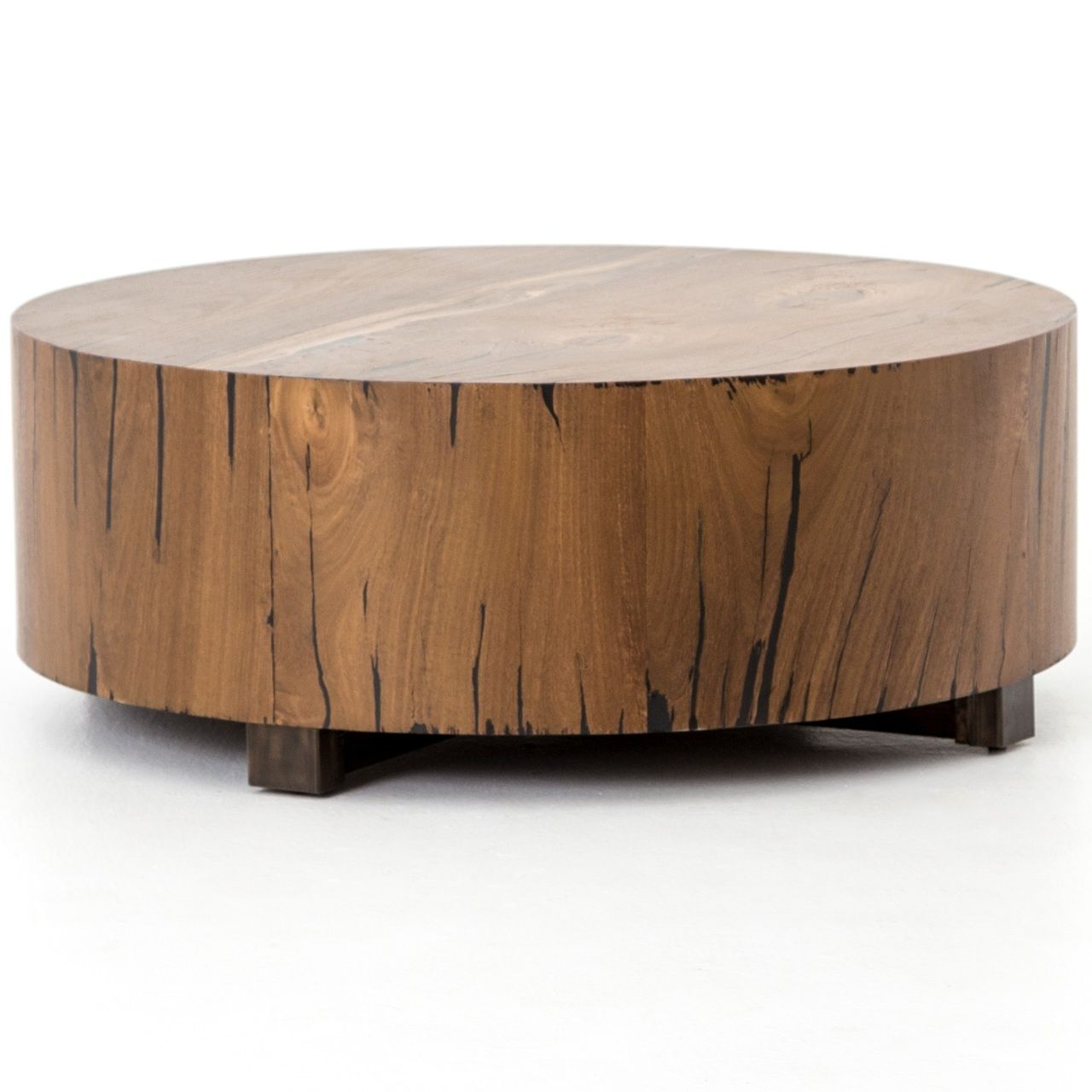 Hudson Round Natural Wood Block Coffee Table Natural Wood Coffee