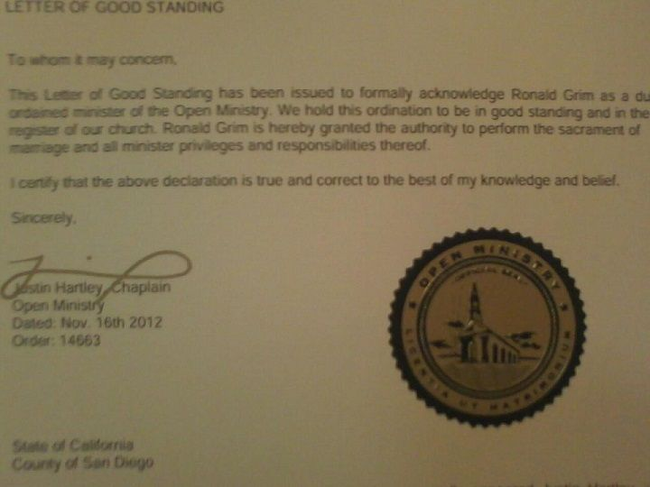 My Minister Letter Of Good Standing As I Am An Ordained Ministor - new letter to minister format australia