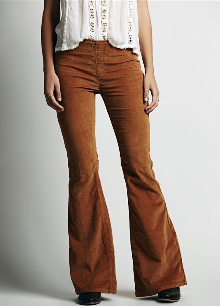 NEW Free People rusty brown Pull On Corduroy Kick Flares Leggings Jeans 27… 5d069a958509e