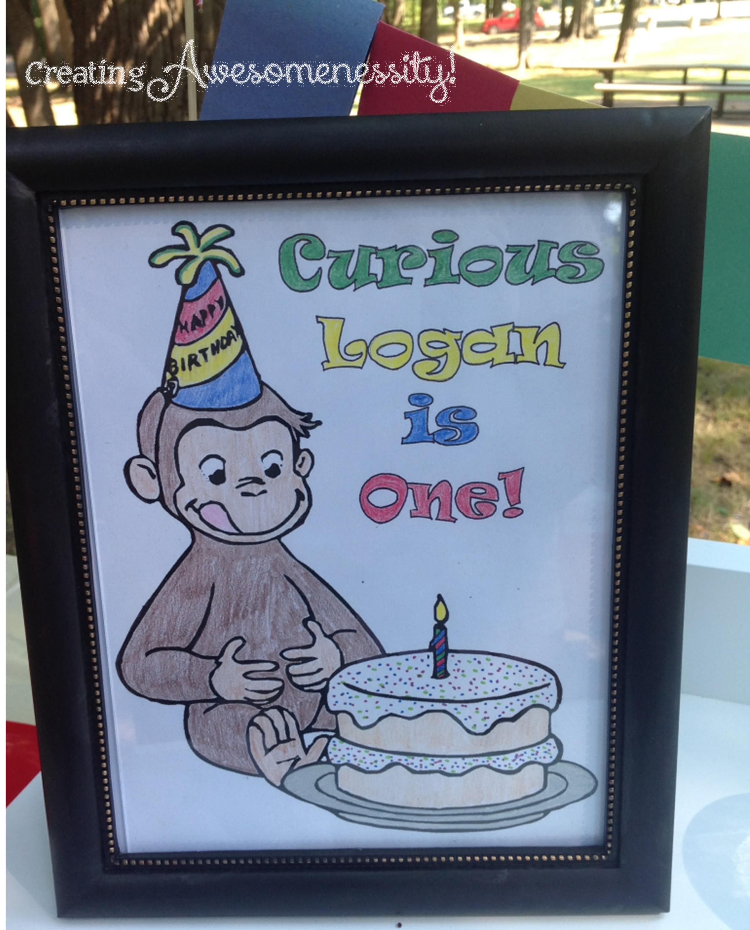 #Curious #George #birthday sign