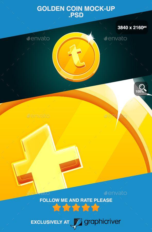 Golden Coin Mock Up Psd Golden Coin Coin Logo Logo Mockup
