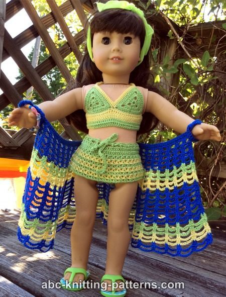 ABC Knitting Patterns - American Girl Doll Two-Piece S… | American ...