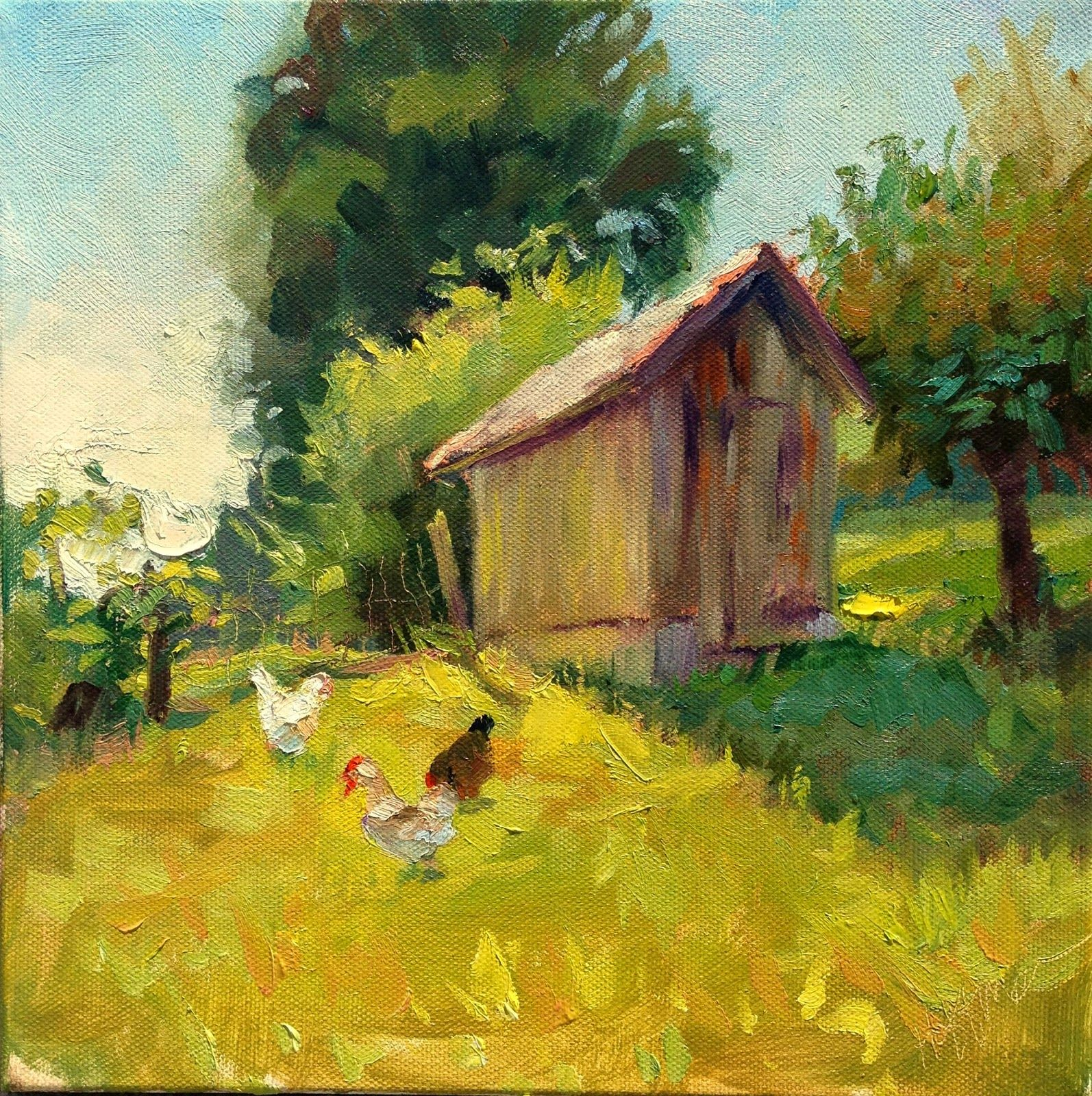"Mary's Paintings: ""Peckin' at the Watershed""  SOLD thinking I was finished, the chickens suddenly walked into the scene and made it all the better!"
