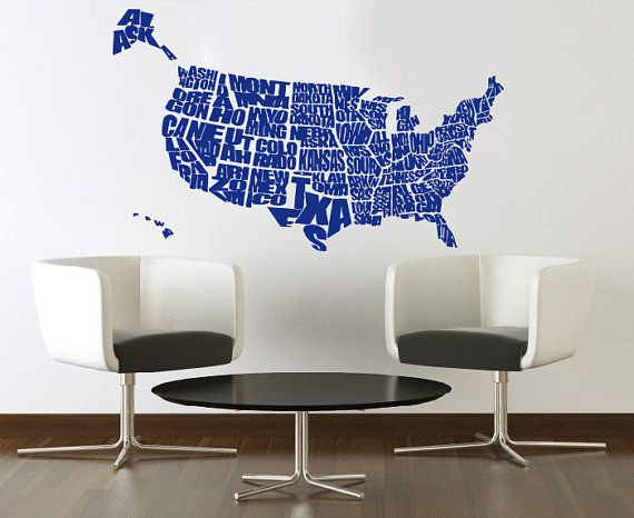 United States US Map Wall Decals Country Words Wall Vinyl Decal - Us map wall decal