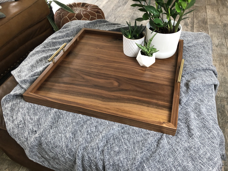 Solid Black Walnut Ottoman Tray Hardwood Ottoman Tray Oversized Walnut Tray Square Coffee Table Tray Modern Table Tray Walnut Serving Tray In 2020 Coffee Table Tray Coffee Table Decor Tray Ottoman Tray
