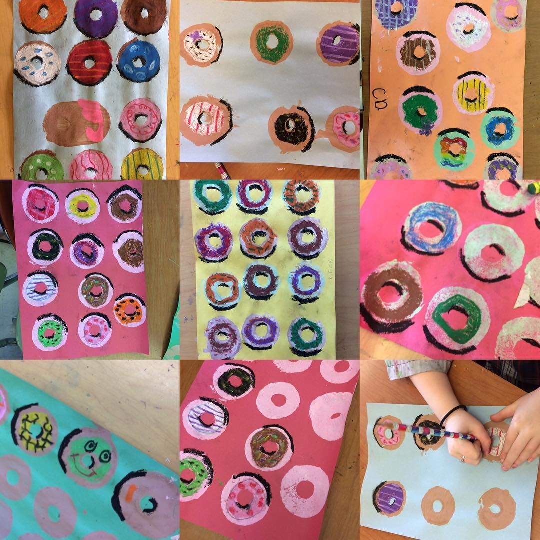 Holey Doughnuts 4th Grade Oil Pastel And Paint Work
