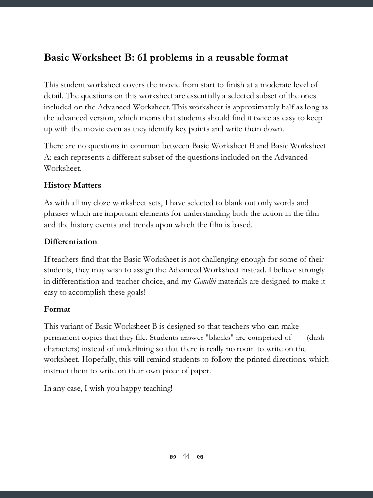 worksheet Gandhi Worksheet gandhi movie worksheets 123 clozefill in problems every worksheet has its own intro page so that teachers can easily choose which