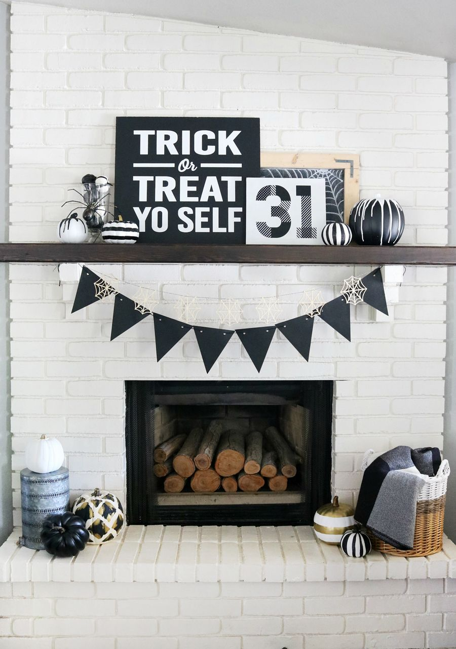 black white halloween mantel decor