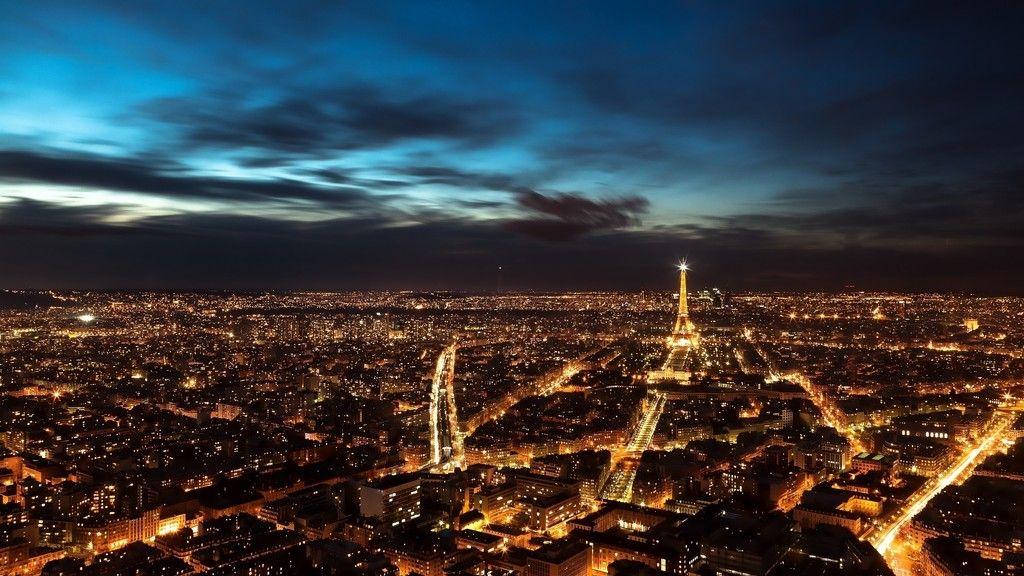 Paris City Aerial View In Night Wallppaer Aerial View Hd 4k 8k
