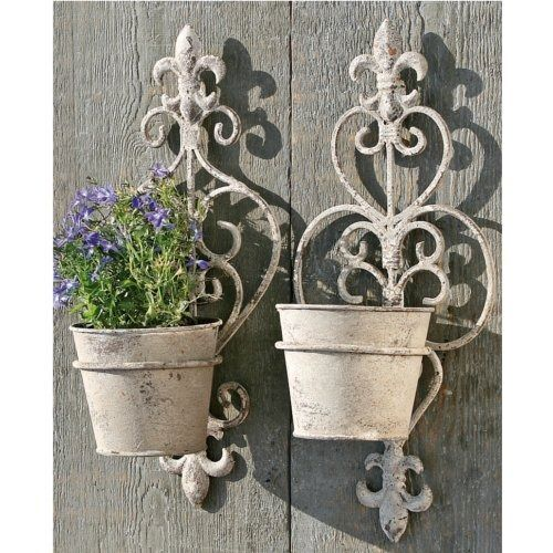 Wall Flower Pots Make Your Own With Wire On A Wrought Iron Wall