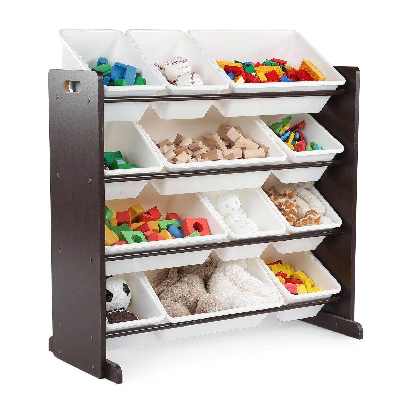 Tot Tutors Kids Toy Storage Organizer With 12 Bins Espresso In 2020 Toy Storage Organization Toy Organization Kid Toy Storage