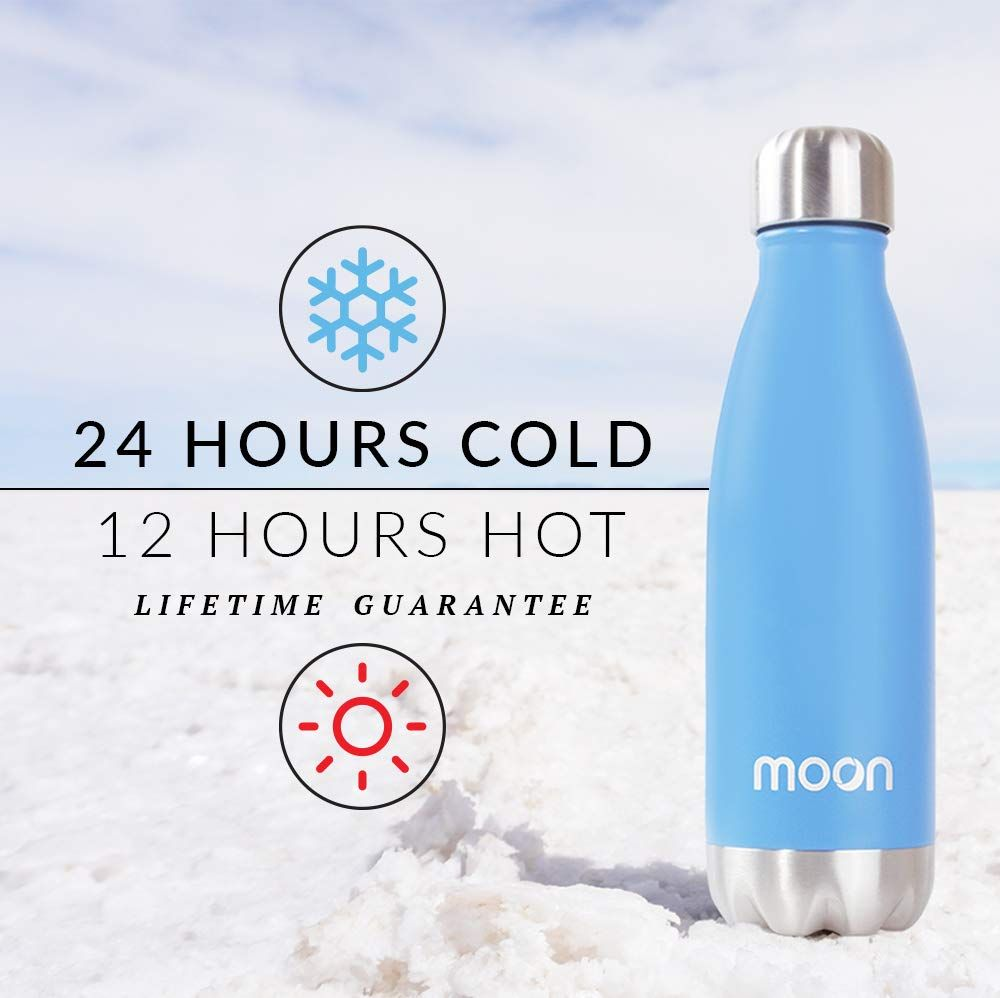 BPA Free Premium Insulated Stainless Steel Metal Water Bottles Moon Bottle Reusable 24hrs Cold 12hrs Hot Leakproof Guarantee Double Walled