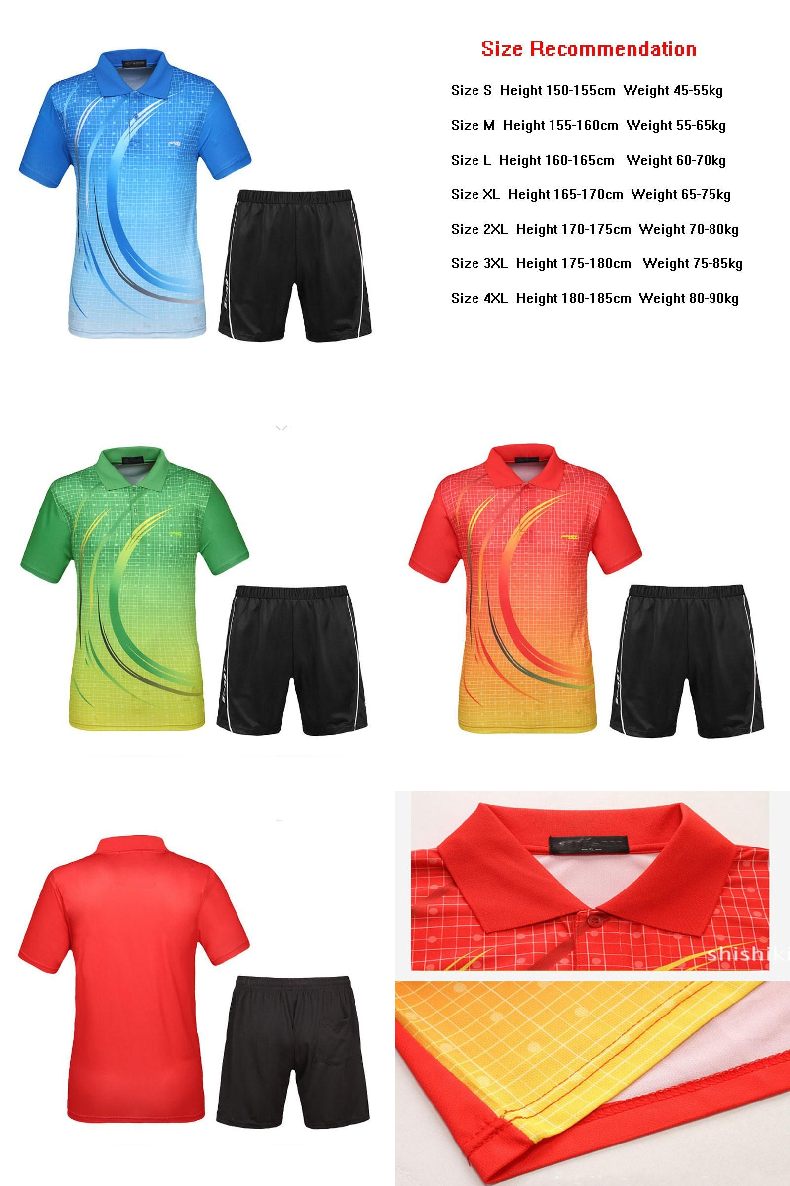 Visit To Buy Men Tennis Shirts Sets 2017 New Design Sport Suit Shorts With Jerseys Breathable Quick Dry Badminton Table Tennis Shirts Sports Suit Sportswear