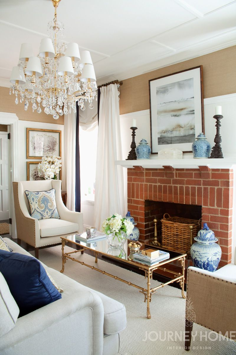 Hamptons style living room in navy and white with sand ...