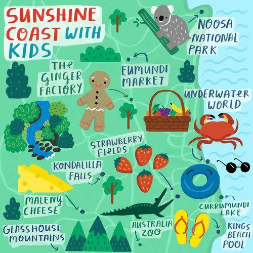 Fatti Burke Map of Queenslands Sunshine Coast with Kids