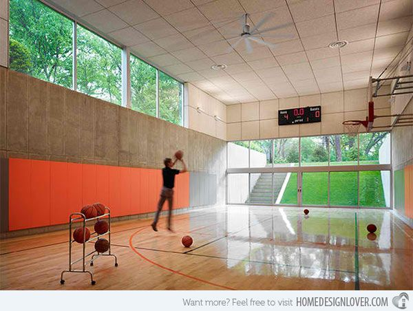 15 Ideas For Indoor Home Basketball Courts Home Design Lover Home Basketball Court Hinsdale House Indoor Basketball