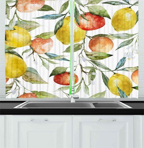 Nature Lemon and orange design Kitchen Curtains Color