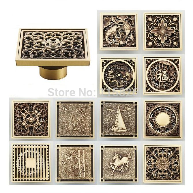 Find More Drains Information About Fashion Hot 10 10cm Vintage Artistic Brass Bathroom Wetroom Square Sho In 2020 Bathroom Shower Accessories Shower Drain Floor Drains