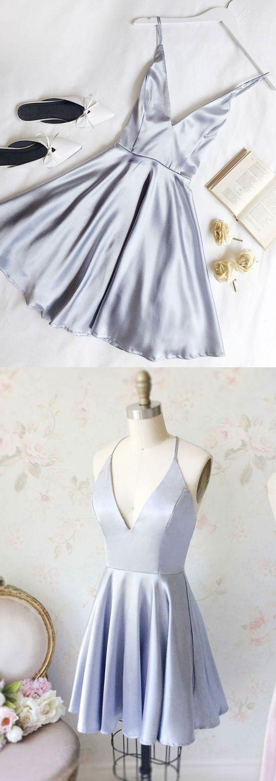 Schicke A-Linie, V-Ausschnitt, Homecoming-Kleider, kurzes Ballkleid, schlichte Homecoming-Kleider
