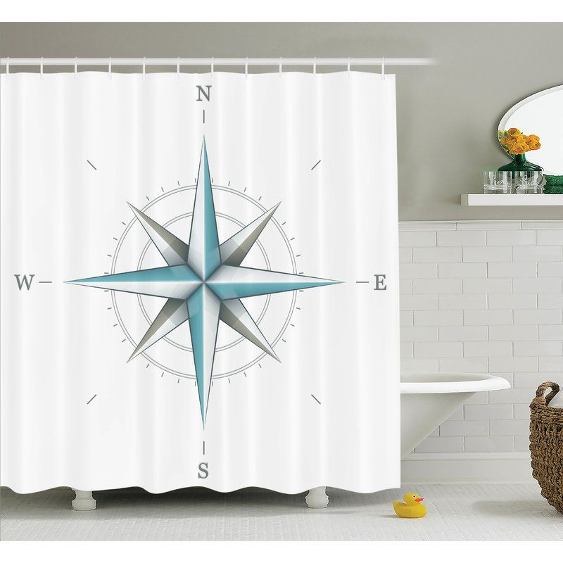 Hoffman Compass Antique Wind Rose Shower Curtain Set In 2019