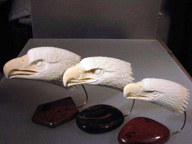 Carved Antler Eagle Heads Wood Carving Art Skull Carving Dremel Carving