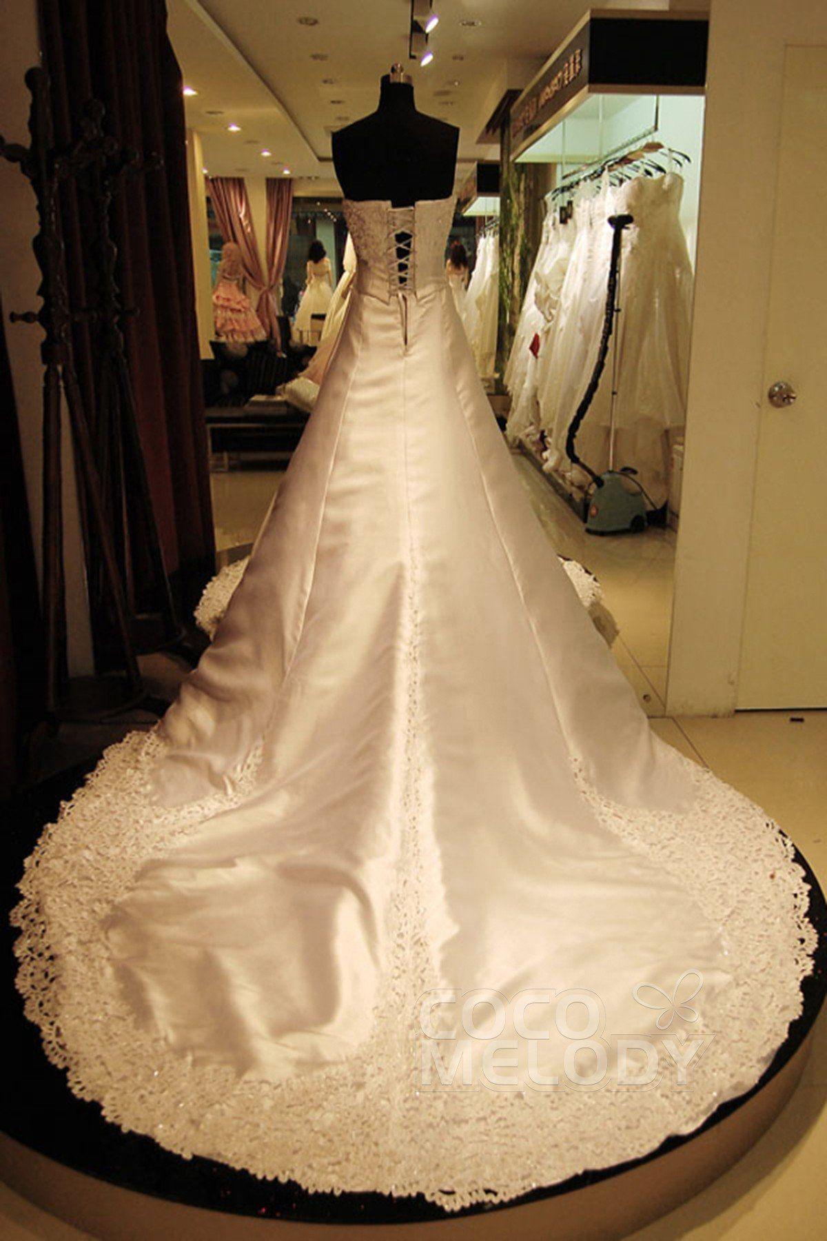 ALine Cathedral Train Satin Wedding Dress HS7517