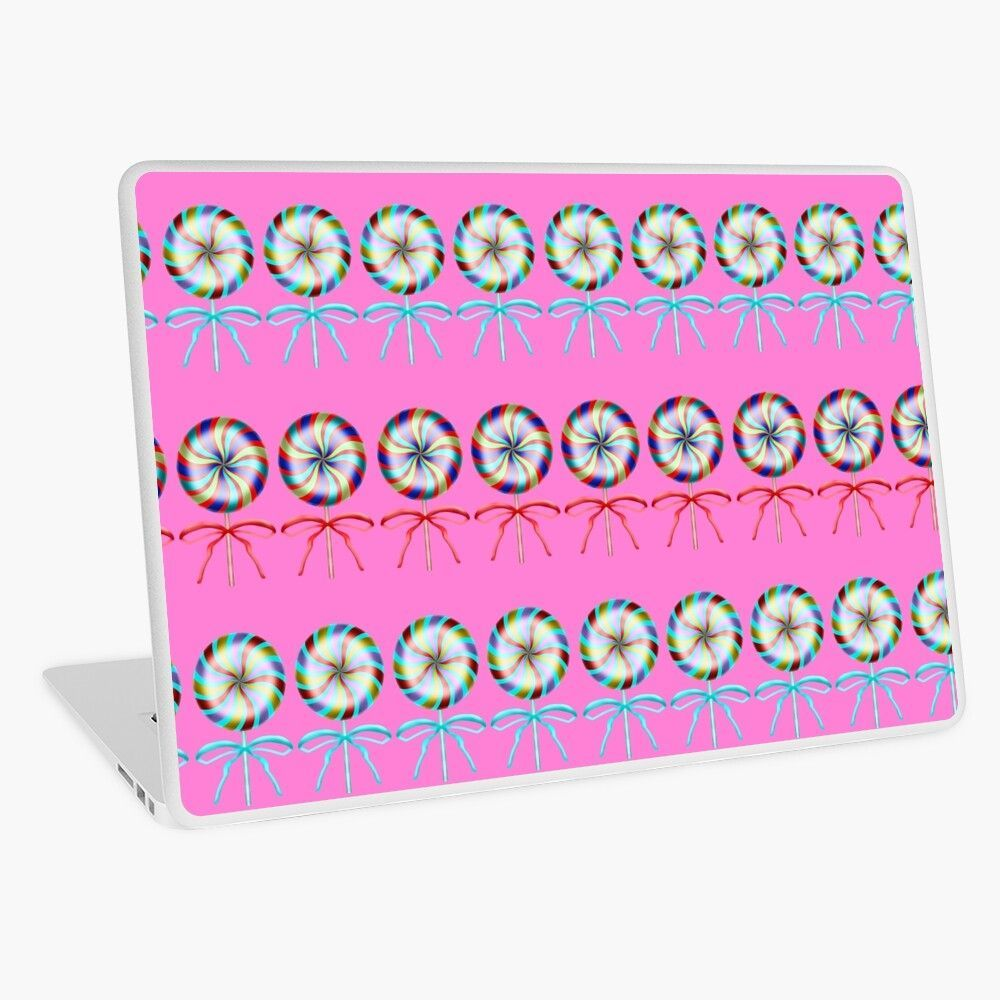 Girly lovely cute lollipop candy pattern Rows of beautiful retro vintage lollipops with red ribbon bows on baby pink background Sweet tooth Candy store Laptop Skin by Mer...